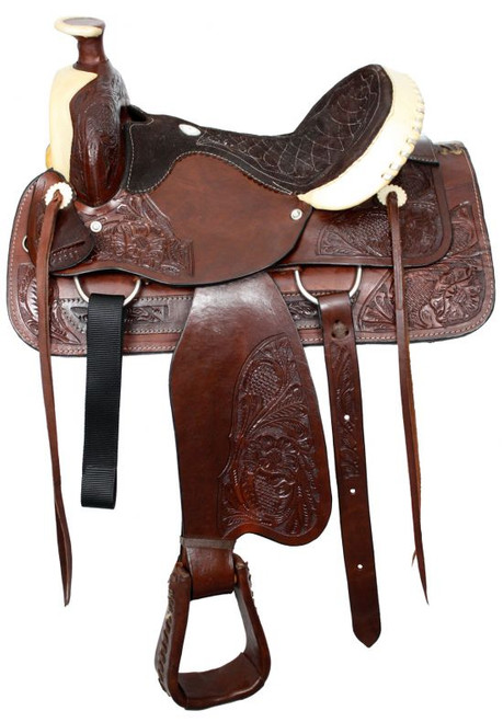 """16""""  Buffalo roper style saddle with suede leather seat."""