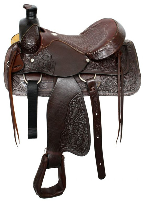 "16""Buffalo roper style saddle with smooth leather seat"