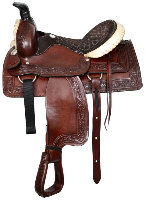 """16"""" Buffalo roper style saddle with rawhide silver laced cantle and pommel"""