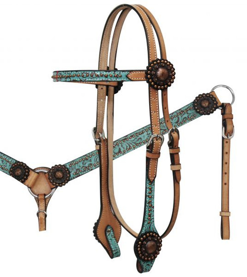 Light Oil Filigree Headstall and Breast Collar Set with Copper Rosette Conchos