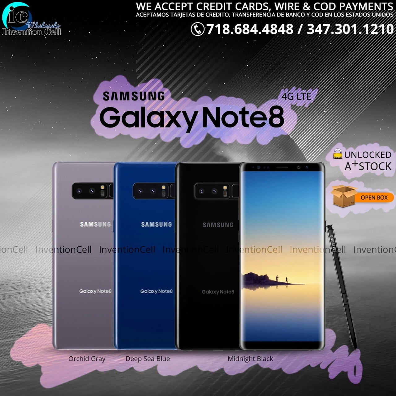 Samsung Galaxy Note 8 4G LTE 64GB (T-Mobile) Unlocked, (Open Box) A+ Stock  (Black)