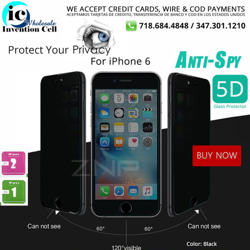 Privacy Tempered Glass Screen Protectors 5G (iPhone 6) indiviual pack