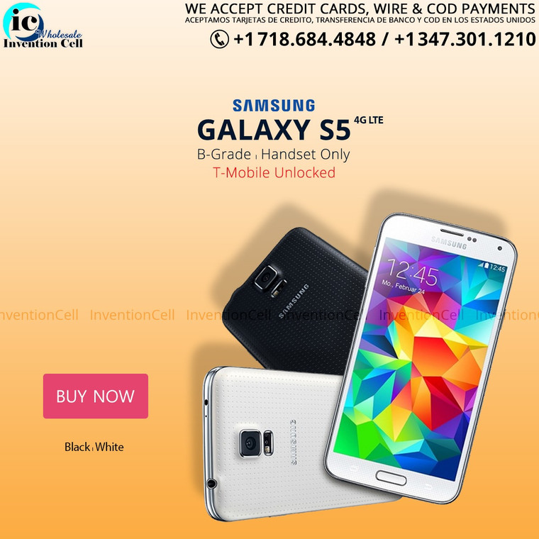 Samsung Galaxy S5 ,4G Lte (T-Mobile) Unlocked (B Grade) used (White) Handset Only