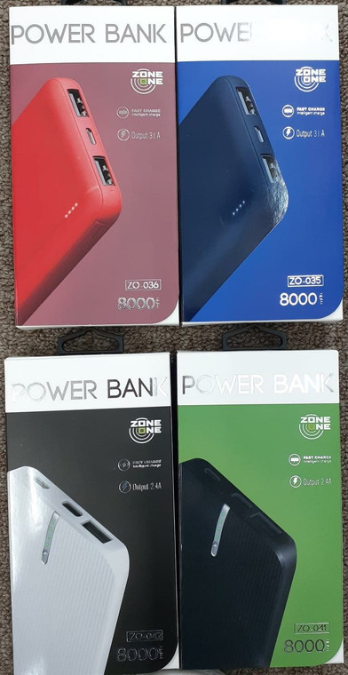 Zone One Power Bank 8000MAH Available in 4 colors.
