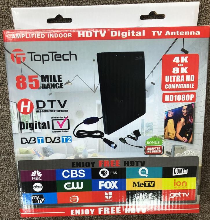 Toptech Amplified Indoor HDTV Digital Antenna 85 mile Range (Black)