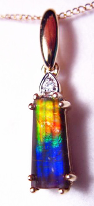 10K Ammolite Faceted Rectangle Pendant  17GP