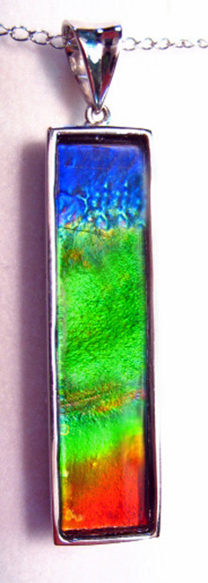 18KW Ammolite Bar Column Pendant 27GP