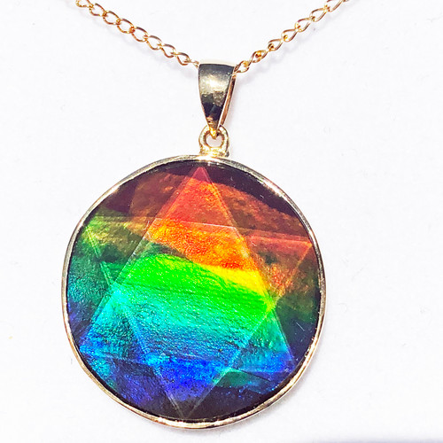 18K Ammolite Star of David Pendant  31GP