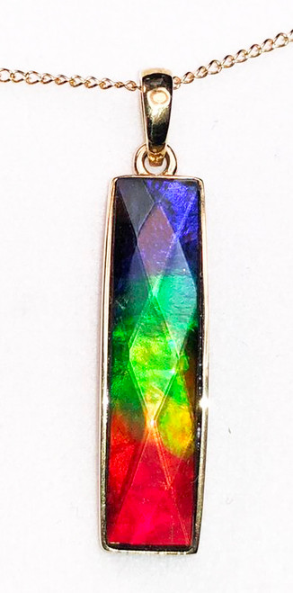 18K Ammolite Bar Column Pendant Faceted  40GP