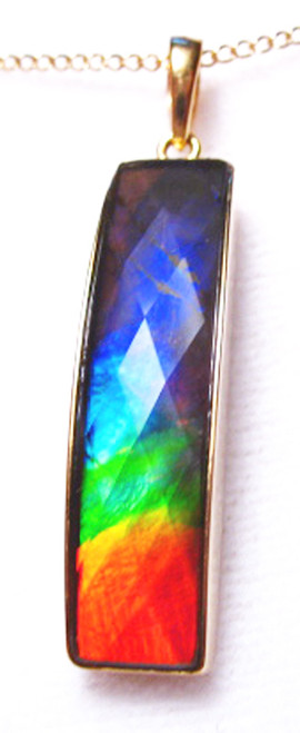 18K Ammolite Bar Column Pendant Faceted  77GP