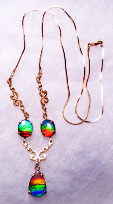 14K Ammolite 3 Stone Pear Necklace 1GTSN
