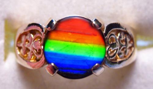 14K Ammolite Round Fillagree Ring 1GR