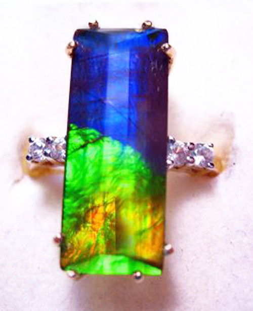 10K Ammolite Faceted Bar Column Ring 3GR