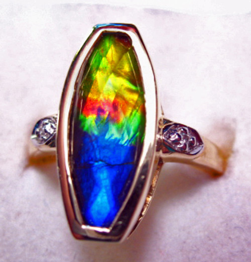 10K Ammolite Faceted Marquise Ring 4GR