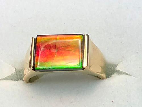 14K Ammolite Rectangle Ring 12GR