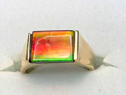 14K Ammolite Rectangle Ring 12GR