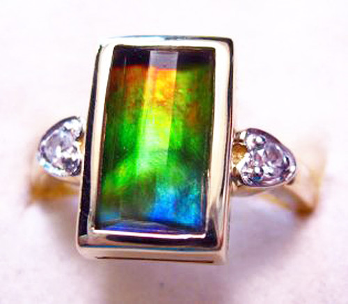 10K Ammolite Faceted Bar Column Ring 14GR
