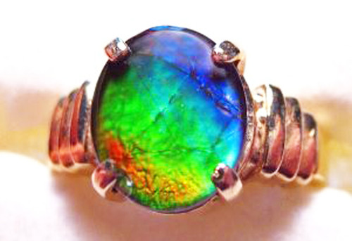 14K Ammolite Oval Ribbed Ring 20GR
