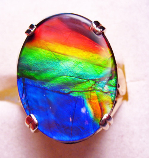 14K Ammolite Oval Ring 22GR