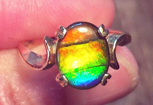 14K Ammolite Oval Ring 23GR