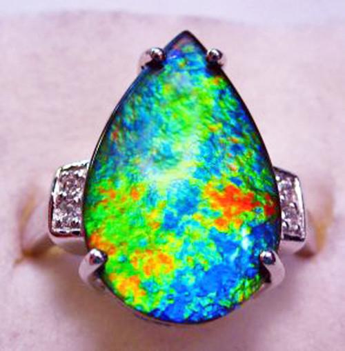 10KW Ammolite Pear Ring 24GR