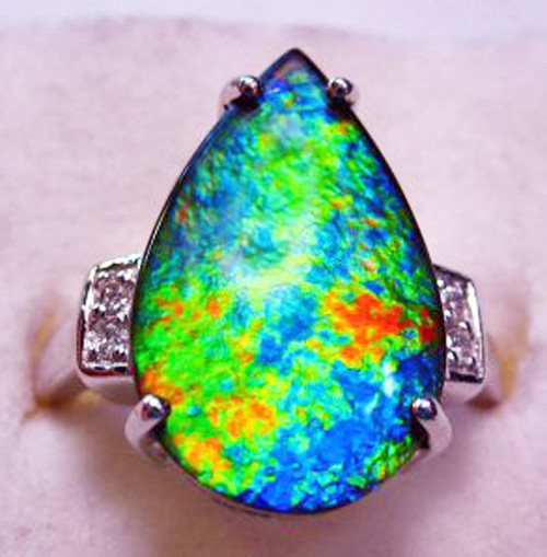 10KW Ammolite Pear Ring 24GR
