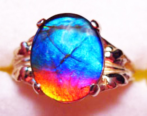14K Ammolite Oval Ring 28GR