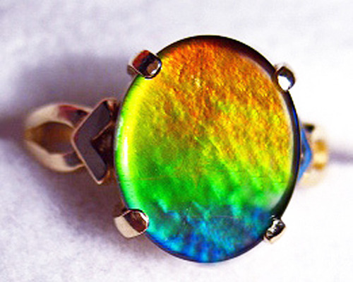 14K Ammolite Oval Ring 29GR