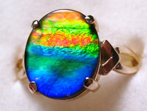14K Ammolite Oval Ring 33GR