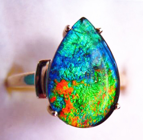 10K Ammolite Pear Ring 35GR