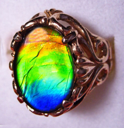 14K Ammolite Oval Filigree Ring 37GR