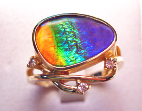 14K Ammolite Trillion Ring 40GR