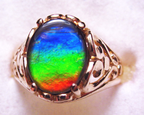 14K Ammolite Oval Filigree Ring 41GR