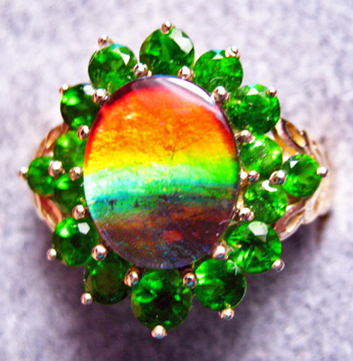10K Ammolite Oval Ring 43GR