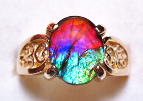 14K Ammolite Oval Filigree Ring 46GR