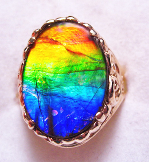 14K Ammolite Oval Filigree Ring 50GR