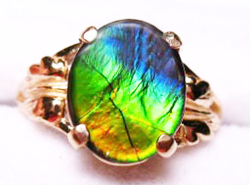 14K Ammolite Oval Ring 53GR