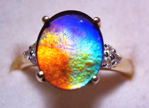 10K Ammolite Oval Ring 56GR