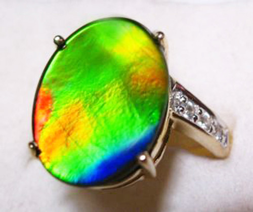 10K Ammolite Oval Ring 59GR