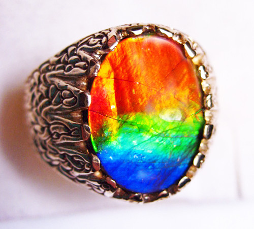 14K Ammolite Oval Mens Ring 2MGR