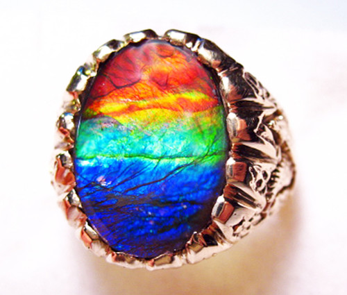 14K Ammolite Oval Mens Ring 4MGR