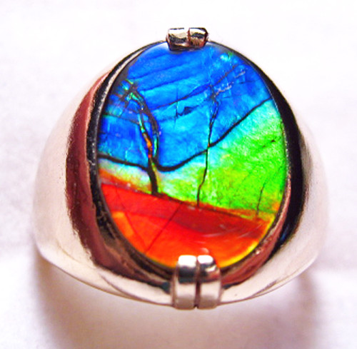 10K Ammolite Oval Mens Ring 3MGR