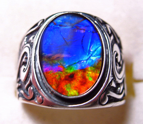 Ammolite Oval Ring Sterling Silver 1SR