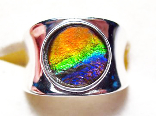 Ammolite Round Ring Sterling Silver 4SR