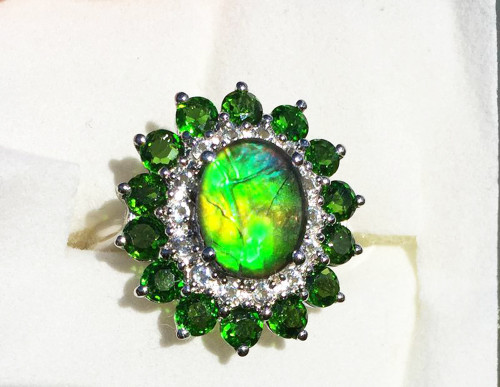 Ammolite Oval Ring Sterling Silver 11SR