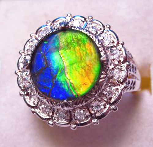 Ammolite Round Ring Sterling Silver 15SR
