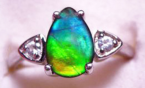 Ammolite Pear Ring Sterling Silver 16SR