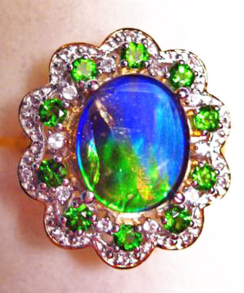 Ammolite Oval Ring Sterling Silver 19SR