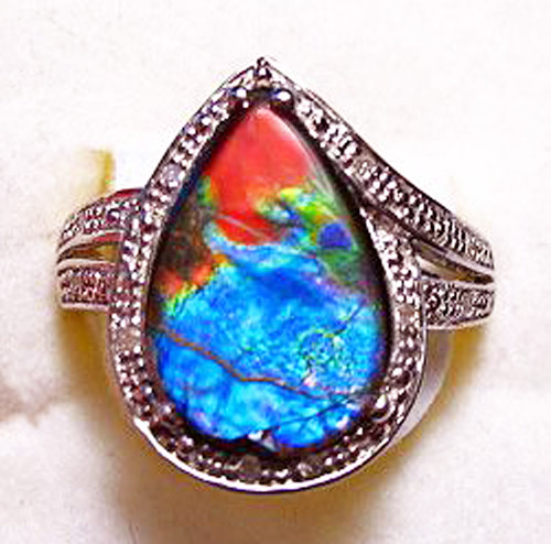 Ammolite Pear Ring Sterling Silver 21SR