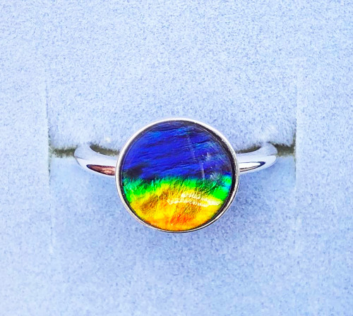 Ammolite Round Ring Sterling Silver 22SR